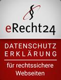 Siegel: eRecht24 Datenschutzerklärung für rechtssichere Webesiten